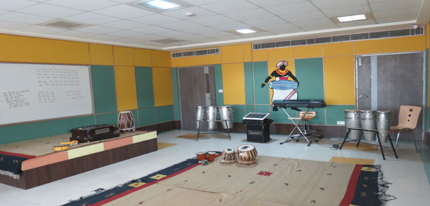 the image shows different muscial instruments in music room,best school in delhi