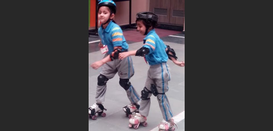 the image shows the students of junior wing doing roller skating,best school in sports in delhi