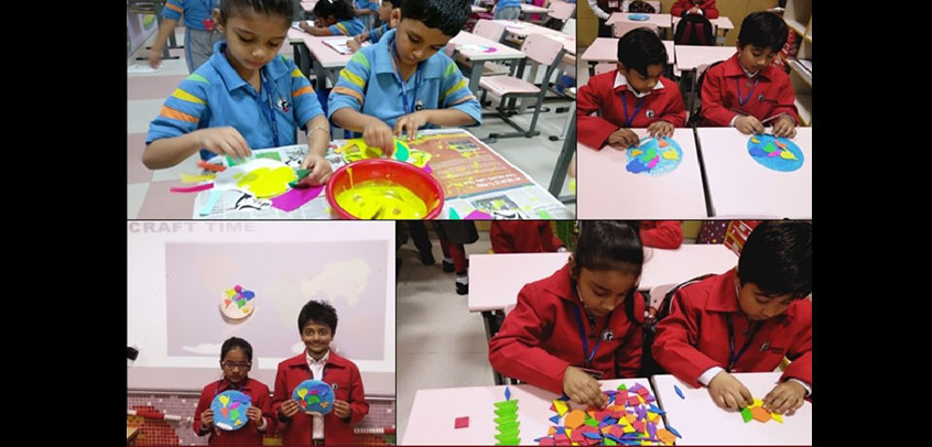 the image shows the students of secondary wing doing art and craft work,best school in extra curriclar activity